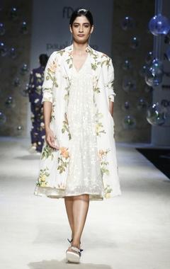 Payal Pratap White floral tier midi dress