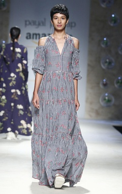 Payal Pratap Blue cold shoulder maxi dress