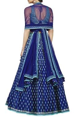 navy blue pure silk lehenga
