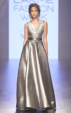 grey metallic flared gown