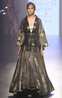 Black & gold cape with lehenga
