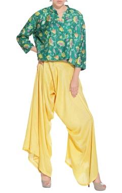 green peplum kurta & pants