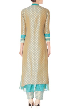 Grey brocade kurta set