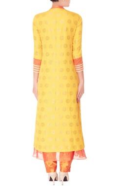 yellow brocade kurta set