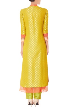 Lime green brocade kurta set