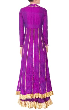 purple double layer anarkali with dupatta