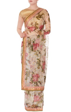 white floral sari with unstitched blouse