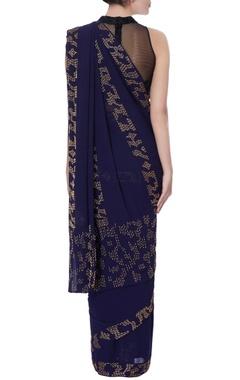 blue georgette cutdana work sari