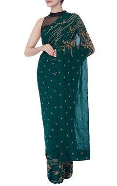 green cutdana work sari