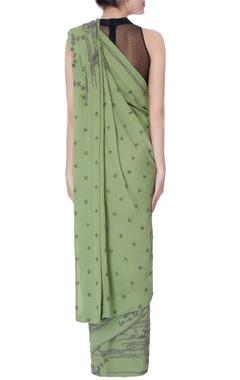 green georgette cutdana work sari