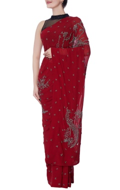 maroon georgette silk sari