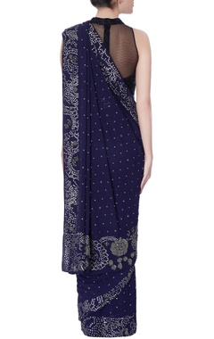 indigo blue sequin embellished sari