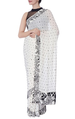 ivory sari with black pearl work