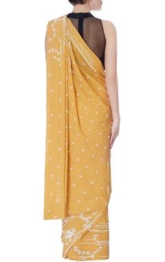 ochre yellow bead work embellished sari
