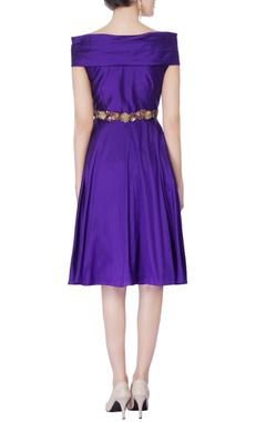 purple taffeta silk off-shoulder dress