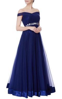 Midnight blue net bias cut gown