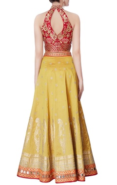 red halter blouse & yellow lehenga with dupatta