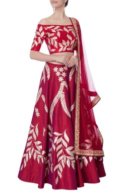 rasberry pink silk lehenga set