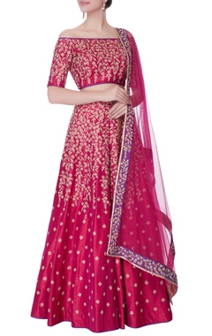 pink off shoulder blouse with lehenga & dupatta