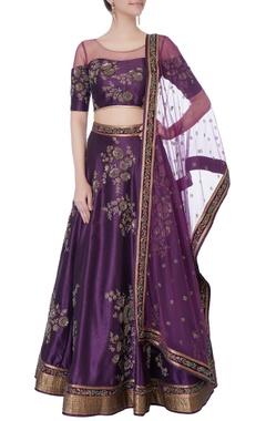 purple raw silk lehenga set