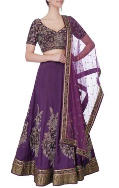 purple sequin embellished lehenga set