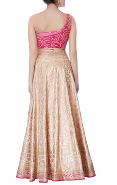 pink one-shoulder blouse with lehenga & dupatta