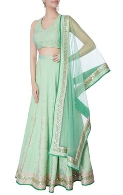 sea green raw silk lehenga set