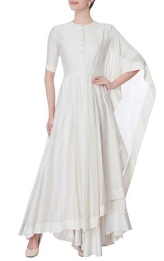 white anarkali with attached drape