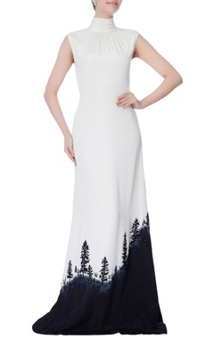 black & white high neck gown