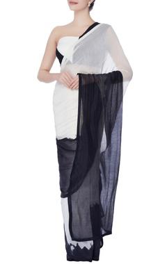 black & white sari with blouse & under-skirt