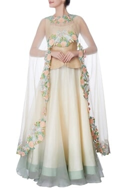ivory organza silk cape with lehenga & blouse