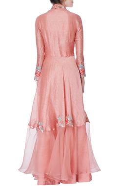 coral pink angrakha suit & palazzo pants