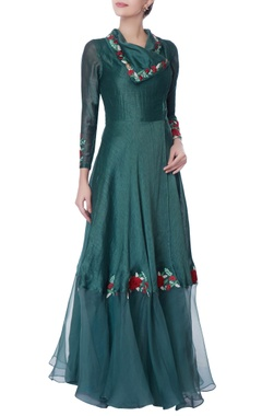 Teal blue resham embroidered kurta set