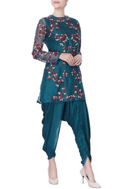 Teal blue resham & zardozi embroidered kurta set