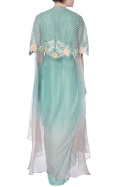 blue organza embroidered cape set