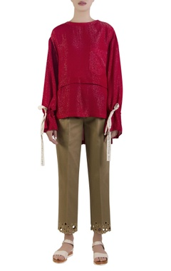 Red lurex shimmer oversized top