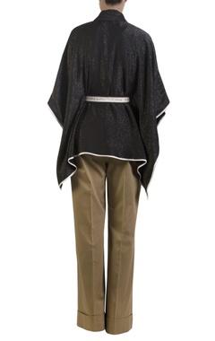 Black poncho with self-tie belt