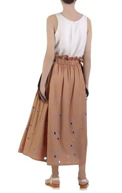 apricot orange flared maxi skirt