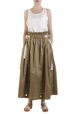 olive green flared elasticized skirt
