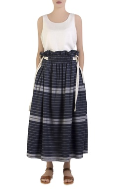 blue stripe skirt with tie-up straps
