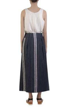 blue front slit maxi skirt