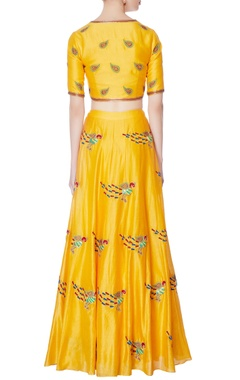Yellow silk lehenga set