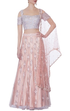 purple embellished blouse & lehenga set