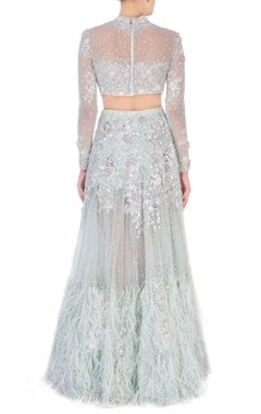mint green silver embellished ruffle lehenga set