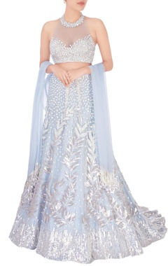 greyish blue embroidered net lehenga set