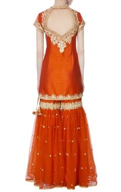 orange kurta with garara pants & dupatta