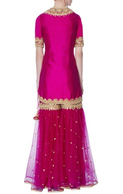 Pink kurta with garara pants & dupatta