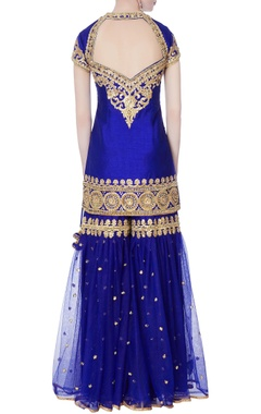 Blue kurta with garara pants & dupatta