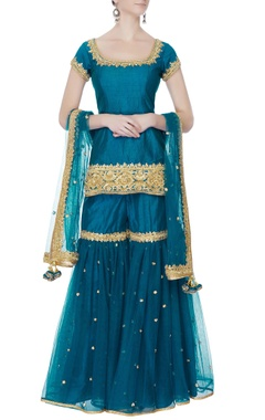 teal blue short kurta set