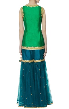 Green dupion silk kurta set
